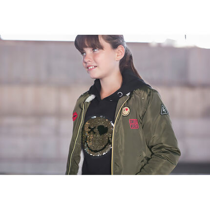 Junior - Khaki bomber jacket with sherpa lining and ©Smiley badges