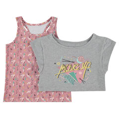 2-in-1 short-sleeved tee-shirt with a printed tank top