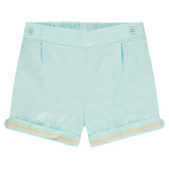 Cotton shorts with an embroidered frieze on the turn-ups