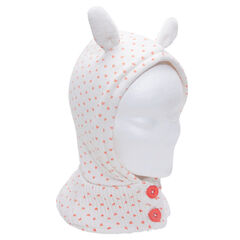 Knit hood with ears in relief and hearts