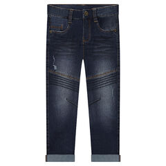 Distressed slim fit jeans with topstitched pattern