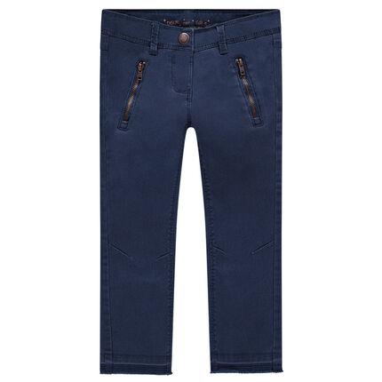 Plain-colored skinny fit twill pants