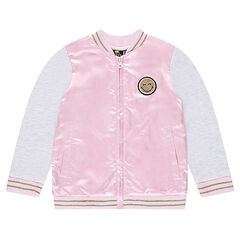 Satin and fleece bi-material jacket with a ©Smiley print in back