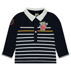 Long-sleeved striped polo shirt with a viking-shaped badge patch