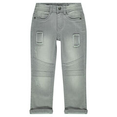 Slim-cut jeans with interplay of seaming and topstitching