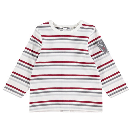 Long-sleeved tee-shirt with stripes and badge