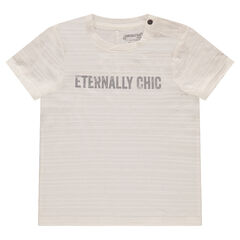Short-sleeved striped-effect tee-shirt with a printed message in front