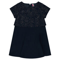 Short-sleeved 2-in-1 effect dress with floral motif