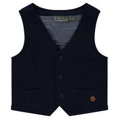 Plain-colored cotton dress vest
