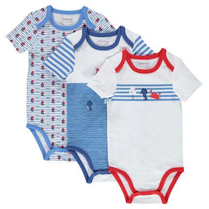 Set of 3 short-sleeved printed jersey bodysuits