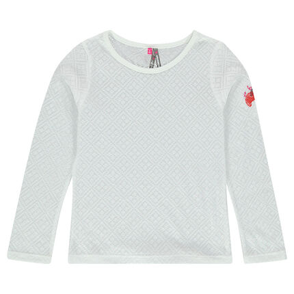 Long-sleeved, embroidered burnout jersey tee-shirt