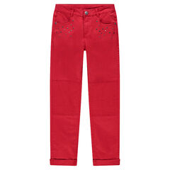 Junior - Red slim fit twill pants