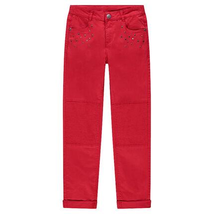 Junior - Red slim fit twill pants
