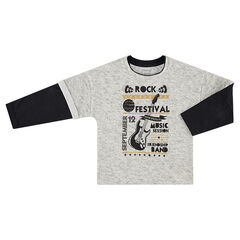 Long-sleeved 2-in-1 effect tee-shirt with printed messages and guitar