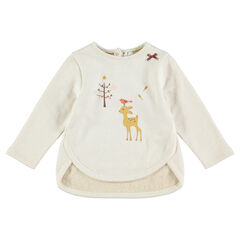 Ribbed fleece sweatshirt mixed with shiny thread and featuring a fawn print