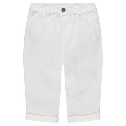 Plain-colored white cotton pants