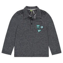 Jacquard polo shirt with pocket and patched badges
