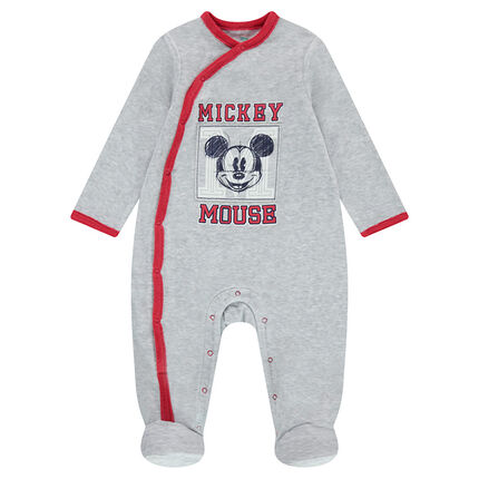 Heather gray velvet footed sleeper with a Mickey Mouse print
