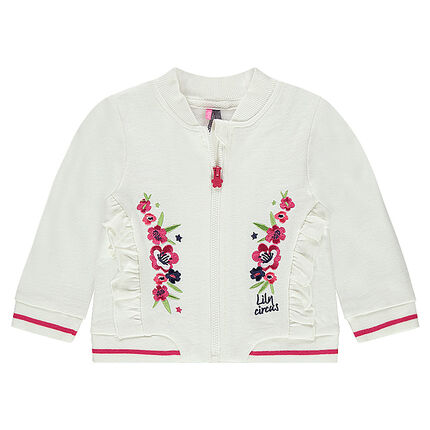 Fleece jacket with embroidered flowers and frills