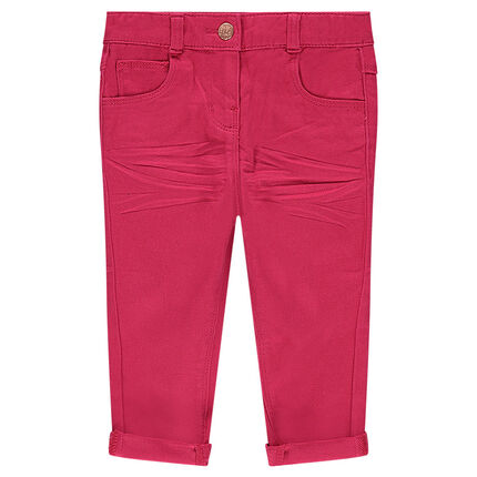 Crinkled-effect slim fit twill pants