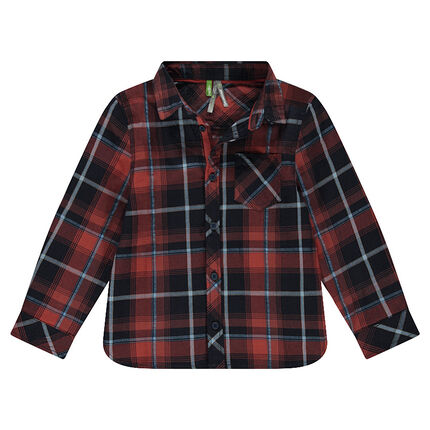 Long-sleeved shirt with large checks and pocket