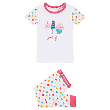 Jersey pajamas with printed candy and colorful polka dots