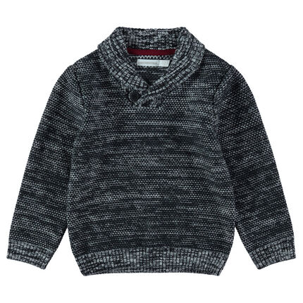 Heathered knit sweater with a buttoned shawl collar