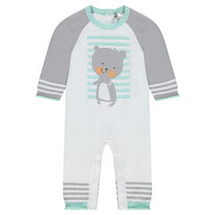 Long knit jumpsuit with a jacquard teddy bear