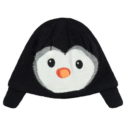 Knit cap with a penguin motif in velvet and velvet lining