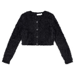 Junior - Shiny furry knit short cardigan