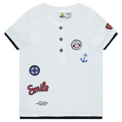 Short-sleeved jersey tee-shirt with ©Smiley badges