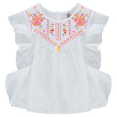 Short-sleeved frilled tunic with embroidered motifs