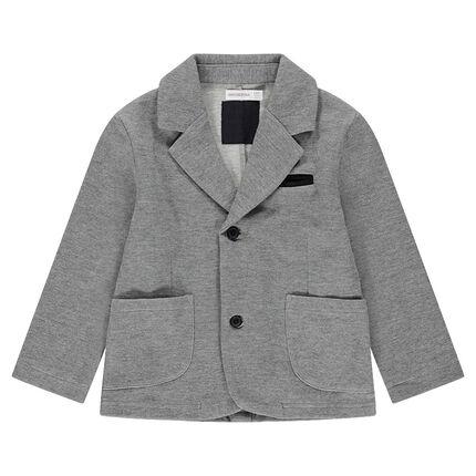 Heathered jersey blazer with velvet details
