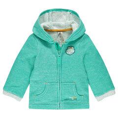 Zipped, fleece hooded jacket with chevrons
