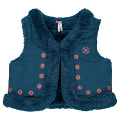 Sleeveless vest embroidered faux suede and faux fur