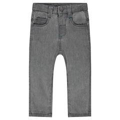 Denim-effect fleece pants