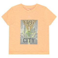 Short-sleeved slub jersey tee-shirt with printed buildings