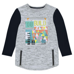 Junior - Long-sleeved long tee-shirt with zippers and print