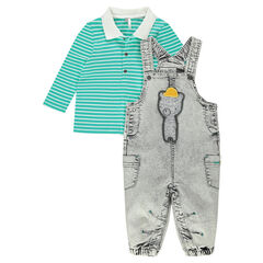 Ensemble with striped polo shirt and snow-effect denim overalls