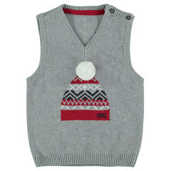 Sleeveless knit sweater with jacquard beanie with pompom in front