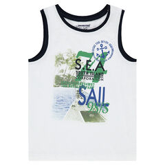 Slubbed jersey tank with printed landscape