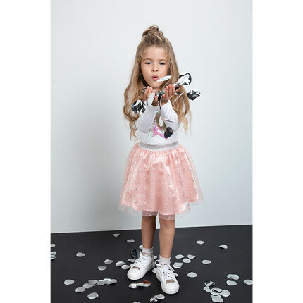 Tutu-style tulle skirt with frill and printed stars