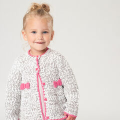 Popcorn knit cardigan with bows in front
