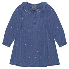 Chambray dress with Peter Pan collar and an embroidered motif