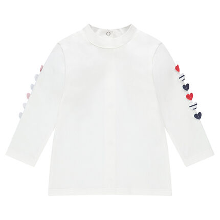 Long-sleeved jersey tee-shirt with textured hearts on the sleeves