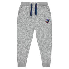 Low-crotch sweatpants with emblem-style badge