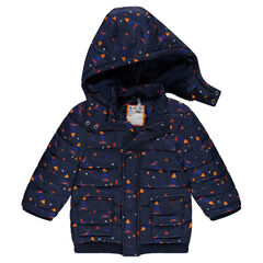 Padded and quilted coat with an allover print and removable hood