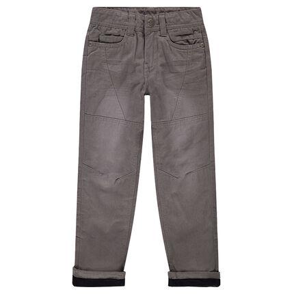 Regular fit cotton poplin pants with a microfleece lining
