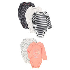 Set of 5 original bodysuits with opening adapted according to the age