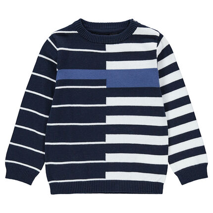 Knit sweater with allover jacquard stripes
